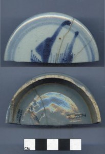 Archaeological Artifact from Fort Huger - porcelain lid two views